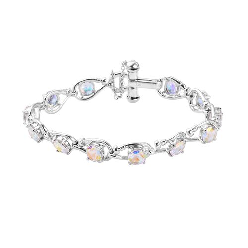 Mercury Mystic Topaz and Diamond Bracelet (Size 7) in Platinum Overlay Sterling Silver 11.51 Ct, Sil