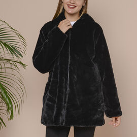 Supersoft Faux Fur Coat with Two Pockets and Zipper Closure  - Black