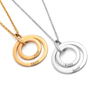 Personalised Engraved Two Disc Necklace, Size18 Inch