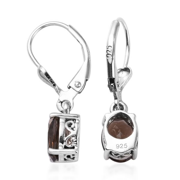 AA Brazilian Smoky Quartz (Ovl) Lever Back Earrings in Platinum Overlay Sterling Silver 2.25 Ct.