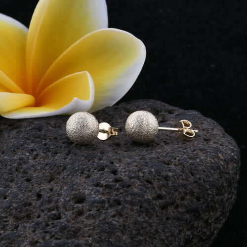Royal Bali Collection 9K Yellow Gold Ball Stud Earrings (with Push Back)
