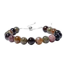 105 Ct Rainbow Tourmaline Beaded Adjustable Bracelet in Rhodium Plated Silver 6.5 to 9 Inch