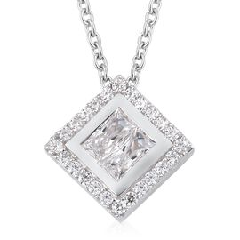 J Francis Platinum Overlay Sterling Silver Pendant with Chain (Size 18) Made with SWAROVSKI ZIRCONIA