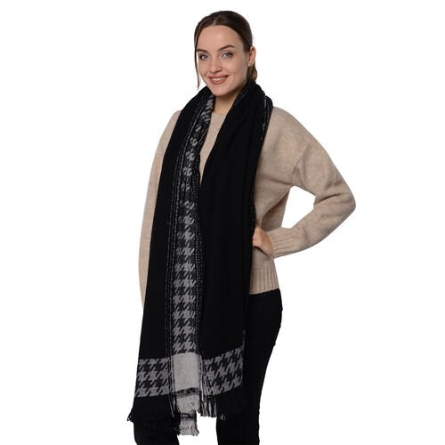 Close Out Deal LA MAREY Super Soft 100% Wool Shawl in Black Houndstooth Border Pattern with Tassels (200x70+5cm)