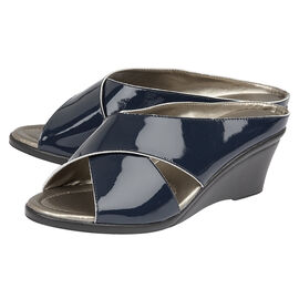 Lotus Patent Leather Trino Open-Toe Mule Sandals in Navy Colour