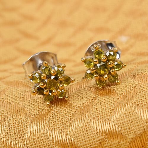 Yellow Diamond Floral Stud Earrings (with Push Back) in Platinum Overlay Sterling Silver 0.50 Ct.