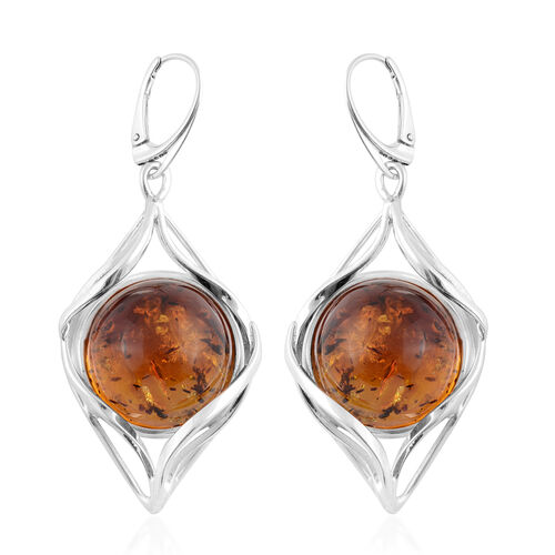 Baltic Amber Solitaire Earrings in Silver 17 Grams