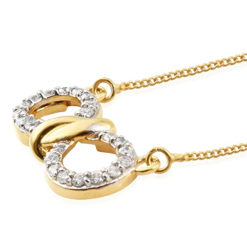 J Francis - Gold Plated Silver Knot Infinity Pendant with Chain and Stud Earrings Set (with Push Back) Made with SWAROVSKI ZIRCONIA
