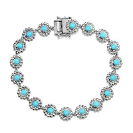 5.25 Ct Arizona Sleeping Beauty Turquoise Floral Link Bracelet in Platinum Plated Silver 8 Inch