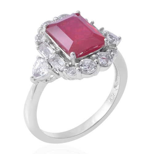 African Ruby (Oct 10x8 mm, 5.01 Ct), White Topaz Ring in Rhodium Overlay Sterling Silver 7.310 Ct.