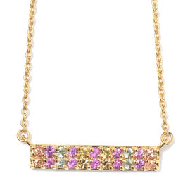 WEBEX- Rainbow Sapphire (Rnd) Necklace with Chain (Size 18) in 14K Gold Overlay Sterling Silver 1.00