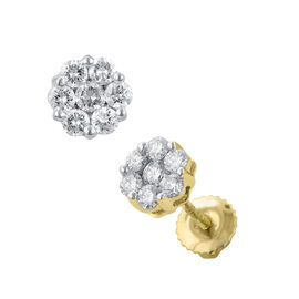 ILIANA 18K Yellow Gold IGI Certified Diamond (Rnd) (SI/G-H) Earrings (with Screw Back) 1.000 Ct.