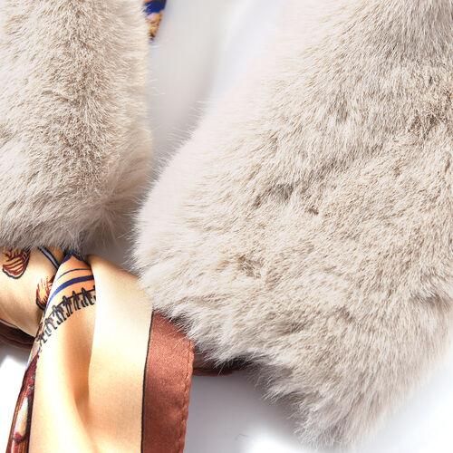 Beige Faux Fur Scarf (58x10cm) with Brown Leopard Print Satin Scarf (70x70cm)