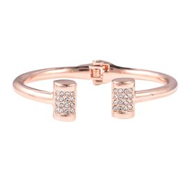 Designer Inspired- White Austrian Crystal Cuff Bangle (Size 7.25) in Rose Gold Tone