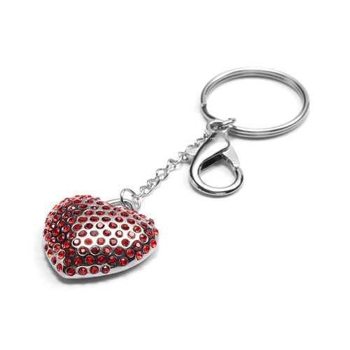 Red Crystal Heart Keychain in Stainless Steel