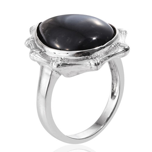 Shungite (Pear) Ring in Platinum Overlay Sterling Silver 10.000 Ct. Silver wt 6.54 Gms.