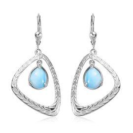 4 Carat Larimar Drop Earrings in Platinum Plated Sterling Silver