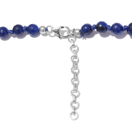Navy Blue Quartzite Ball Beads Graduated Necklace (Size 18 with 2 inch  Extender) in Platinum Overlay Sterling Silver 250.000 Ct.