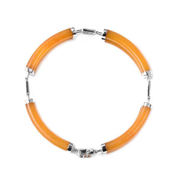 Honey Jade, Citrine Bracelet (Size 7.5) in Rhodium Overlay Sterling Silver 85.150 Ct.