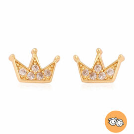 Children Crown Earrings with Natural Cambodian Zircon in Gold Plated Silver