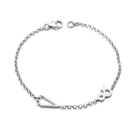 Personalise Single Alphabet + &,Name Bracelet in Silver, Size - 7.5 Inch