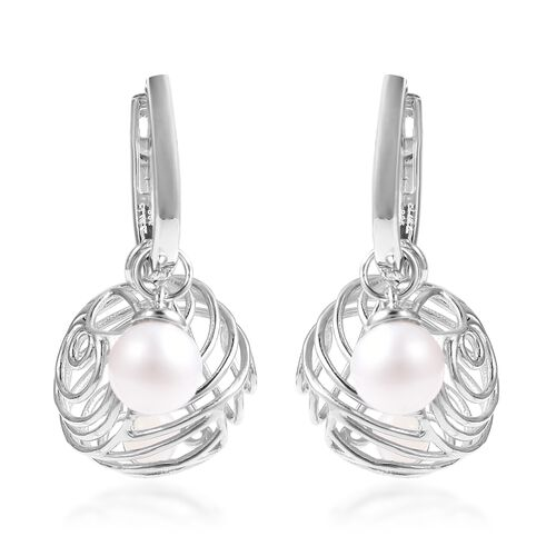 Isabella Liu - Sea Rhyme Collection - Freshwater White Pearl and White Mother of Pearl Earrings (wit