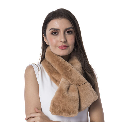 Ultra Soft Faux Fur Handbag and Scarf Set - (Bag size: 20x22cm) - Brown