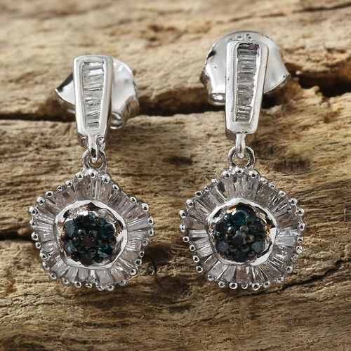 Blue Diamond (Rnd), White Diamond Earrings (with Push Back) in Platinum Overlay Sterling Silver 0.500 Ct.