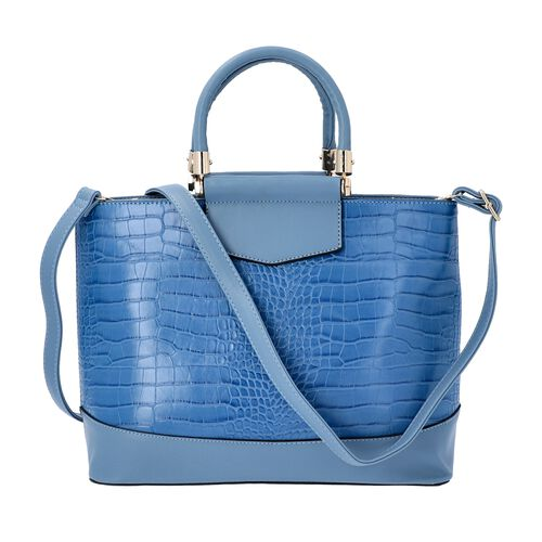 Blue Croc Embossed Tote Bag with Adjustable Shoulder Strap (Size 34x12x25 Cm)