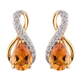 Citrine and Natural Cambodian Zircon Earrings (with Push Back) in 14K Gold Overlay Sterling Silver 1