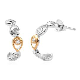 J Francis - Platinum and Yellow Gold Overlay Sterling Silver (Rnd) J-Hoop Earrings (with Push Back)