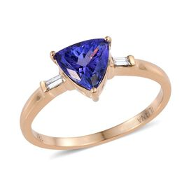 ILIANA 2 Carat AAA Tanzanite and Diamond Ring in 18K Yellow Gold