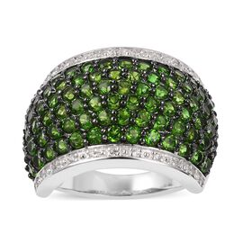 Limited Edition Designer Inspired Cocktail Collection -Russian Diopside (Rnd), Natural Zircon Ring in Rhodium and Black Plating Sterling Silver 5.00 Ct, Silver wt 9.00 Gms.