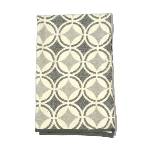 100% Cotton Flannel Grey Colour Geometric Pattern Plaid (Size 150x130 Cm)