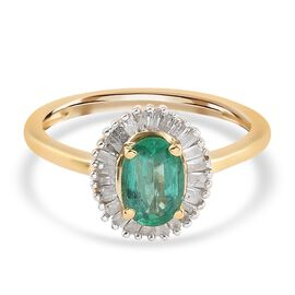 Premium Emerald and Diamond Ring in 14K Gold Overlay Sterling Silver 1.00 Ct.