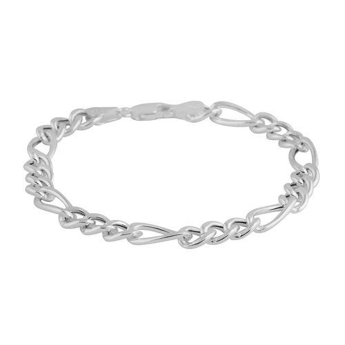 Italian Made - Sterling Silver Figaro Bracelet (Size 7.5), Silver wt 6.00 Gms