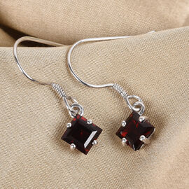 Mozambique Garnet Hook Earrings in Platinum Overlay Sterling Silver 3.00 Ct.