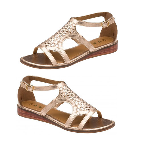Ravel Cardwell Leather Wedge Sandals (Size 6) - Rose Gold