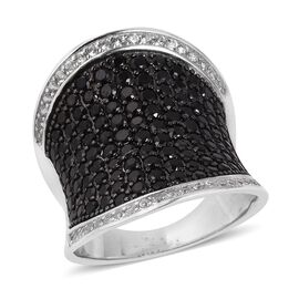 Boi Ploi Black Spinel (Rnd), Natural Cambodian White Zircon Ring in Rhodium and Black Plating Sterling Silver 3.700 Ct, Silver wt 7.20 Gms, Number of Gemstone 148.