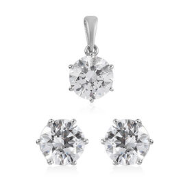 2 Piece Set -  J Francis Platinum Overlay Sterling Silver Pendant and Earrings (with Push Back) Made