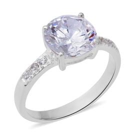 ELANZA Simulated Diamond (Rnd) Ring (Size Q) in Sterling Silver