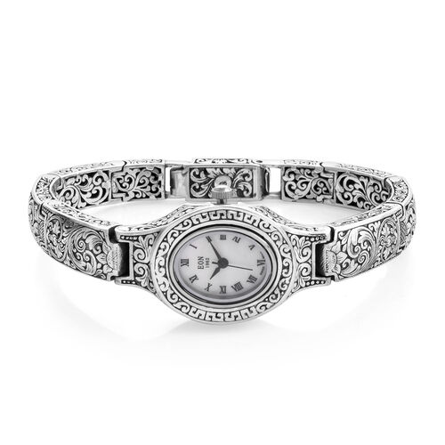 Royal Bali Collection EON 1962 Swiss Movement Water Resistant Watch (Size 8) in Sterling Silver, Silver wt. 47.71 Gms