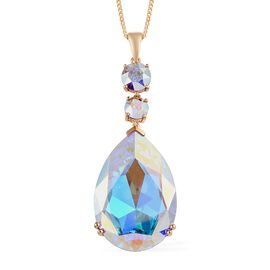 J Francis Crystal from Swarovski - AB Crystal (Rnd and Pear) Pendant With Chain (Size 20) in 14K Gol
