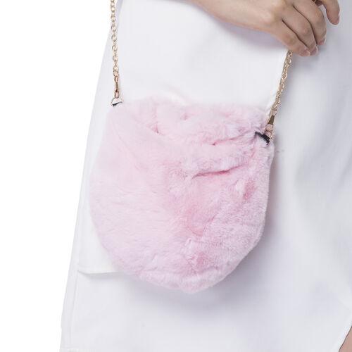 Ultra Soft Faux Fur Handbag and Scarf Set - (Bag size: 20x22cm) - Pink