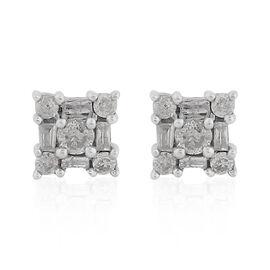0.50 Ct Diamond Stud Earrings in 9K White Gold SGL Certified I3 GH