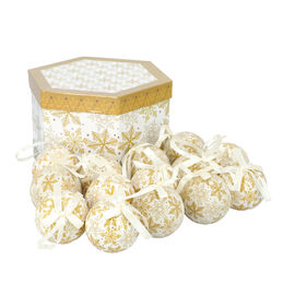Set of 14 Christmas Decoration Snowflake Pattern Balls with Ribbon in Gift Box