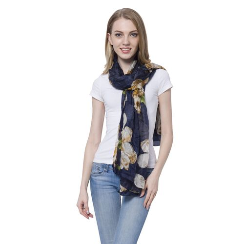 100% Mulberry Silk White, Yellow and Multi Colour Floral Pattern Dark Blue Colour Scarf (Size 175x11
