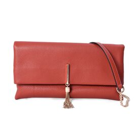 100% Genuine Leather Crossbody Bag with Detachable Shoulder Strap (Size 29.5x3x16 Cm) - Red