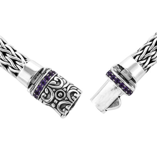 Bali Legacy Collection Amethyst (Rnd) Tulang Naga Bracelet (Size 7.5) in Sterling Silver 2.50 Ct, Silver wt 45.75 Gms