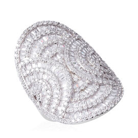 ELANZA Simulated Diamond (Rnd) Cluster Ring in Rhodium Overlay Sterling Silver, Silver wt 7.85 Gms.